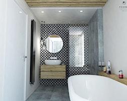Łazienka - Mała biała beżowa czarna szara łazienka w bloku bez okna, styl vintage - zdjęcie od FOORMA Pracownia Architektury Wnętrz