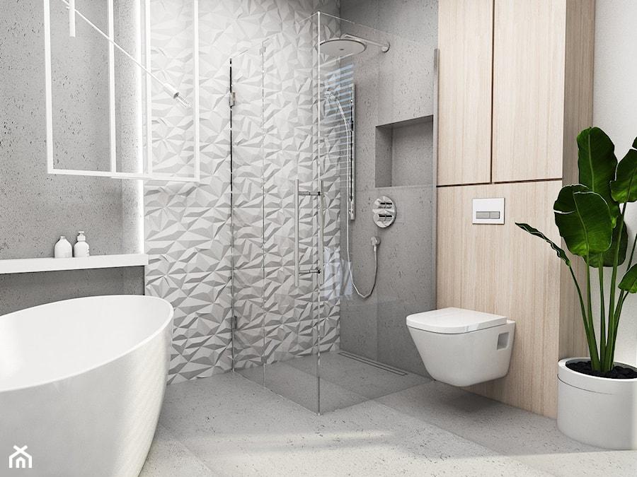 Łazienka Tychy - Mała szara łazienka na poddaszu w bloku w domu jednorodzinnym bez okna, styl nowoczesny - zdjęcie od FOORMA Pracownia Architektury Wnętrz