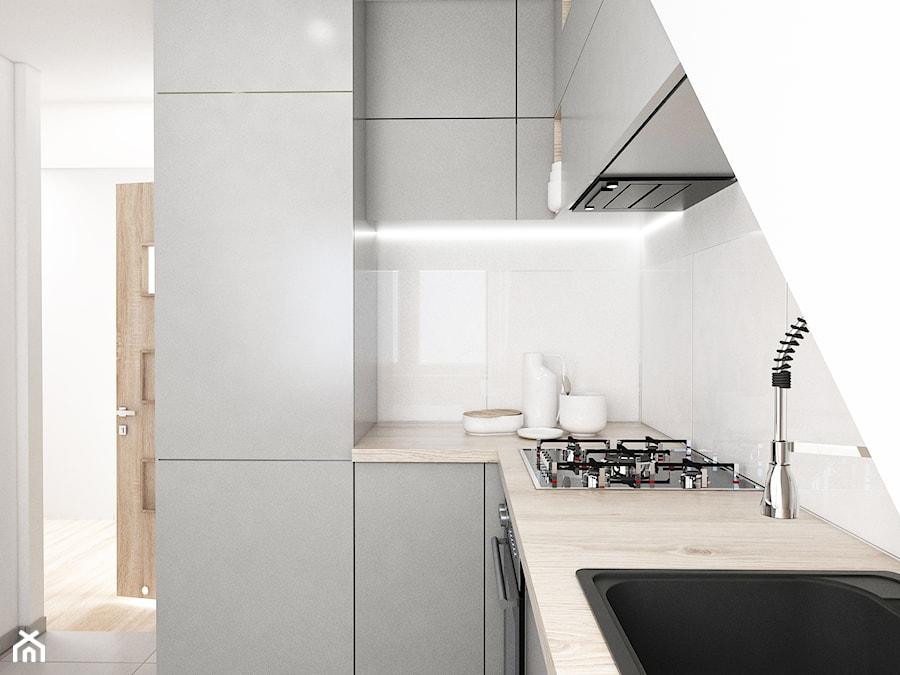 Mieszkanie Na Poddaszu Mała Otwarta Kuchnia W Kształcie
