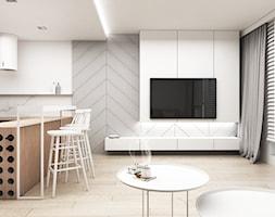 Atal Katowice - Mały szary salon z kuchnią z jadalnią, styl nowoczesny - zdjęcie od FOORMA Pracownia Architektury Wnętrz