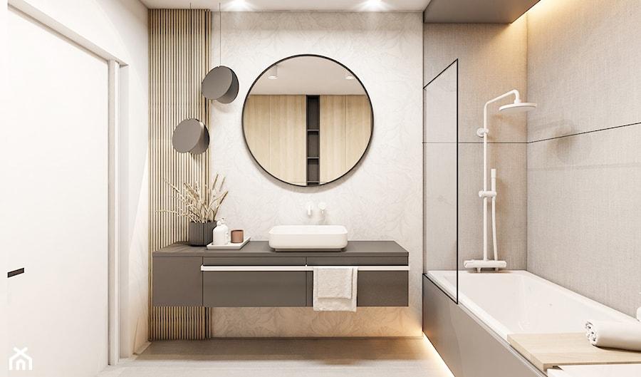 Mieszkanie Kraków - Średnia biała beżowa łazienka bez okna, styl nowoczesny - zdjęcie od FOORMA Pracownia Architektury Wnętrz