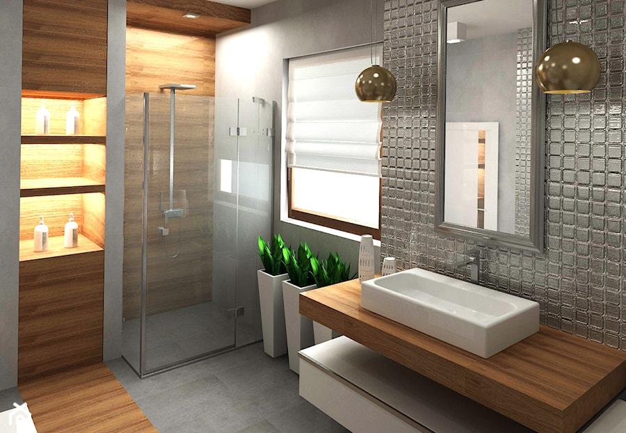 Dom 120 m2 Kraków ul. Lokietka - Średnia brązowa szara łazienka w domu jednorodzinnym z oknem, styl nowoczesny - zdjęcie od Studio 4 Design