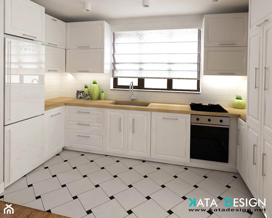 Mieszkanie w Modliniczce - Duża otwarta biała kuchnia w kształcie litery u, styl tradycyjny - zdjęcie od Studio 4 Design
