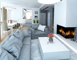 Dom 120 m2 Kraków ul. Lokietka - Mały szary biały salon z kuchnią z jadalnią, styl nowoczesny - zdjęcie od katadesign