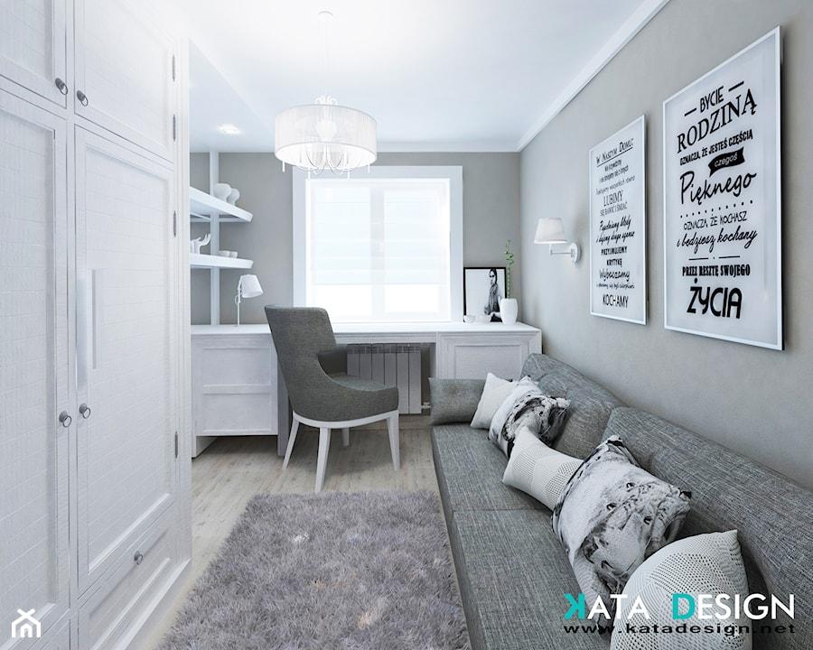 Mieszkanie w Modliniczce - Średnie szare białe biuro kącik do pracy w pokoju, styl tradycyjny - zdjęcie od Studio 4 Design