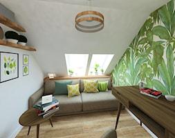 Dom w Kryspinowie - Małe zielone białe biuro kącik do pracy na poddaszu w pokoju, styl nowoczesny - zdjęcie od Studio 4 Design