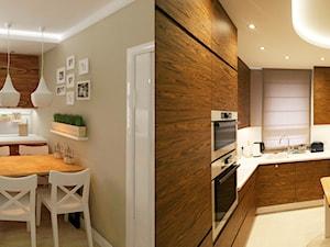Mieszkanie 45 m2 - Średnia zamknięta brązowa kuchnia w kształcie litery l w aneksie z oknem, styl tradycyjny - zdjęcie od Studio 4 Design