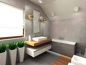Dom 120 m2 Kraków ul. Lokietka - Średnia duża szara łazienka na poddaszu w bloku w domu jednorodzinnym z oknem, styl nowoczesny - zdjęcie od Studio 4 Design
