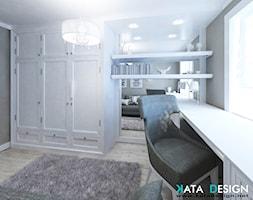 Mieszkanie w Modliniczce - Małe szare biuro kącik do pracy w pokoju, styl tradycyjny - zdjęcie od Studio 4 Design