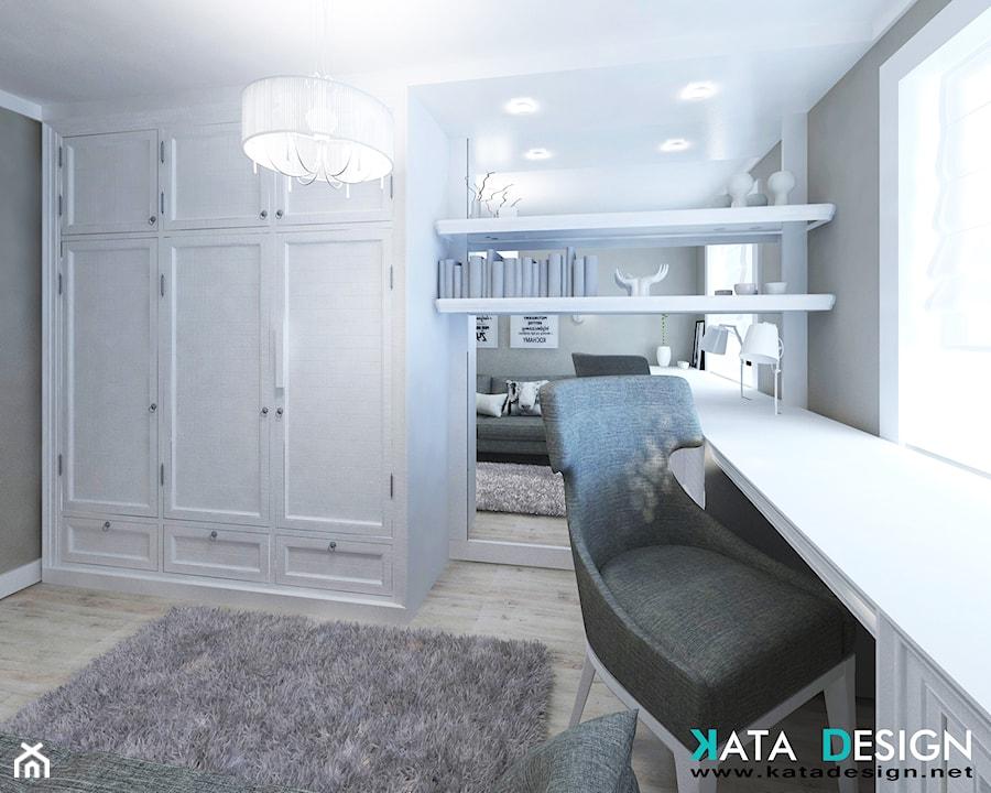 Aranżacje wnętrz - Biuro: Mieszkanie w Modliniczce - Małe szare biuro kącik do pracy w pokoju, styl tradycyjny - katadesign. Przeglądaj, dodawaj i zapisuj najlepsze zdjęcia, pomysły i inspiracje designerskie. W bazie mamy już prawie milion fotografii!