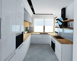 Dom 120 m2 Kraków ul. Lokietka - Średnia otwarta wąska biała kuchnia w kształcie litery u, styl nowoczesny - zdjęcie od Studio 4 Design