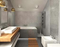 Dom 120 m2 Kraków ul. Lokietka - Średnia szara łazienka na poddaszu w domu jednorodzinnym, styl nowoczesny - zdjęcie od katadesign