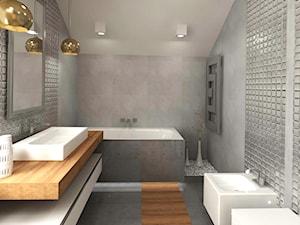Dom 120 m2 Kraków ul. Lokietka - Średnia szara łazienka na poddaszu w domu jednorodzinnym, styl nowoczesny - zdjęcie od Studio 4 Design