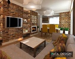 Mieszkanie w Modlniczce 70 m2. - Mały biały kolorowy salon z kuchnią z jadalnią, styl rustykalny - zdjęcie od katadesign