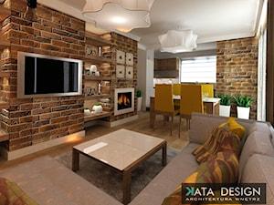 Mieszkanie w Modlniczce 70 m2. - Mały biały kolorowy salon z kuchnią z jadalnią, styl rustykalny - zdjęcie od Studio 4 Design