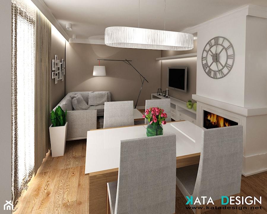 Mieszkanie w Modliniczce - Mała otwarta biała beżowa jadalnia w salonie, styl tradycyjny - zdjęcie od Studio 4 Design