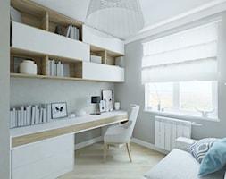 Mieszkanie w Gdańsku - Małe szare biuro domowe kącik do pracy, styl skandynawski - zdjęcie od katadesign