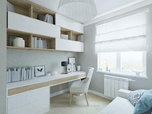 Mieszkanie w Gdańsku - Małe szare biuro domowe kącik do pracy, styl skandynawski - zdjęcie od Studio 4 Design