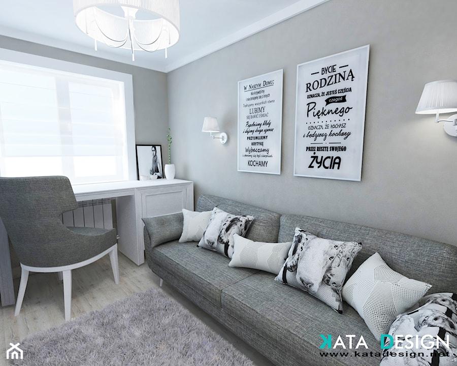 Aranżacje wnętrz - Biuro: Mieszkanie w Modliniczce - Średnie szare biuro kącik do pracy w pokoju, styl tradycyjny - katadesign. Przeglądaj, dodawaj i zapisuj najlepsze zdjęcia, pomysły i inspiracje designerskie. W bazie mamy już prawie milion fotografii!
