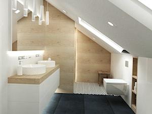 Łazienka - Duża biała łazienka na poddaszu w domu jednorodzinnym z oknem, styl nowoczesny - zdjęcie od Studio 4 Design