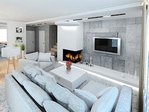 Dom 120 m2 Kraków ul. Lokietka - Szary biały salon z kuchnią, styl nowoczesny - zdjęcie od Studio 4 Design