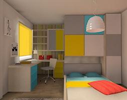 """kolorowy pokój dziewczynki - Średni biały kolorowy pokój dziecka dla dziewczynki dla ucznia dla nastolatka, styl nowoczesny - zdjęcie od Pracownia Aranżacji Wnętrz """"O-Kreślarnia"""""""
