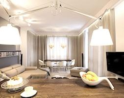 Wilanów - Średni szary biały salon z kuchnią z jadalnią, styl nowoczesny - zdjęcie od Soma Architekci