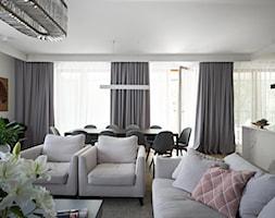 Apartament na Wilanowie. - Średni biały salon z kuchnią z jadalnią, styl nowoczesny - zdjęcie od Soma Architekci - Homebook