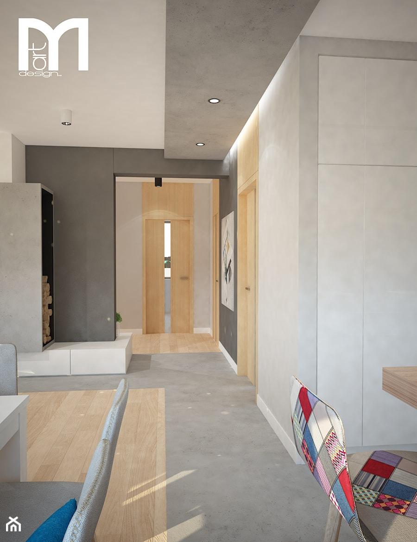 Projekt domu jednorodzinnego z pastelowymi kolorami - Średni szary hol / przedpokój, styl nowoczesny - zdjęcie od Mart-Design Architektura Wnętrz