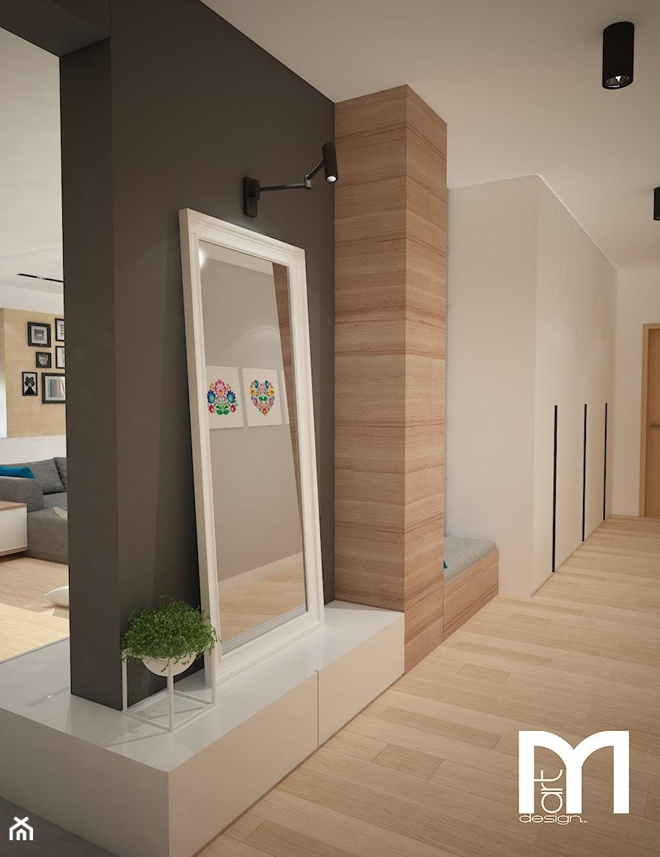 Projekt domu jednorodzinnego z pastelowymi kolorami - Duży czarny szary hol / przedpokój, styl nowoczesny - zdjęcie od Mart-Design Architektura Wnętrz