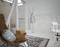 Poddasze styl skandynawski - Duże białe biuro pracownia na poddaszu, styl skandynawski - zdjęcie od Mart-Design Architektura Wnętrz