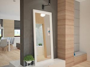 Projekt domu jednorodzinnego z pastelowymi kolorami - Średni beżowy czarny hol / przedpokój, styl nowoczesny - zdjęcie od Mart-Design Architektura Wnętrz