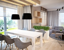 Projekt domu jednorodzinnego okolice Ostrołęki - Średnia otwarta szara jadalnia w salonie, styl nowoczesny - zdjęcie od Mart-Design Architektura Wnętrz