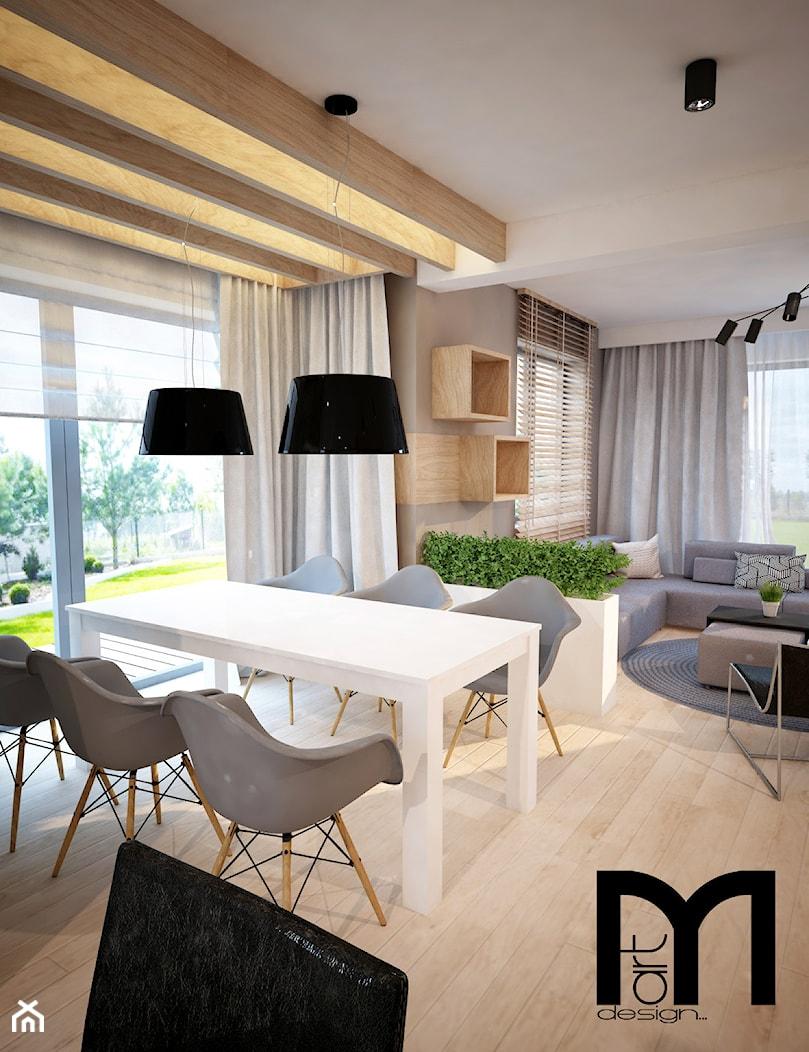 Projekt domu jednorodzinnego okolice Ostrołęki - Średnia otwarta szara jadalnia w salonie, styl nowoczesny - zdjęcie od Mart-Design Architektura Wnętrz - Homebook