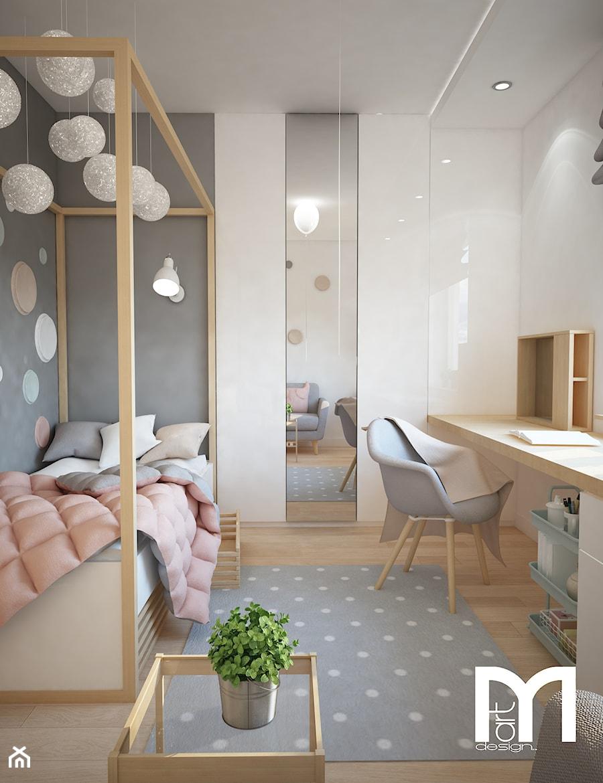 Projekt domu jednorodzinnego z pastelowymi kolorami - Mały biały szary pokój dziecka dla chłopca dla dziewczynki dla ucznia dla malucha dla nastolatka, styl skandynawski - zdjęcie od Mart-Design Architektura Wnętrz
