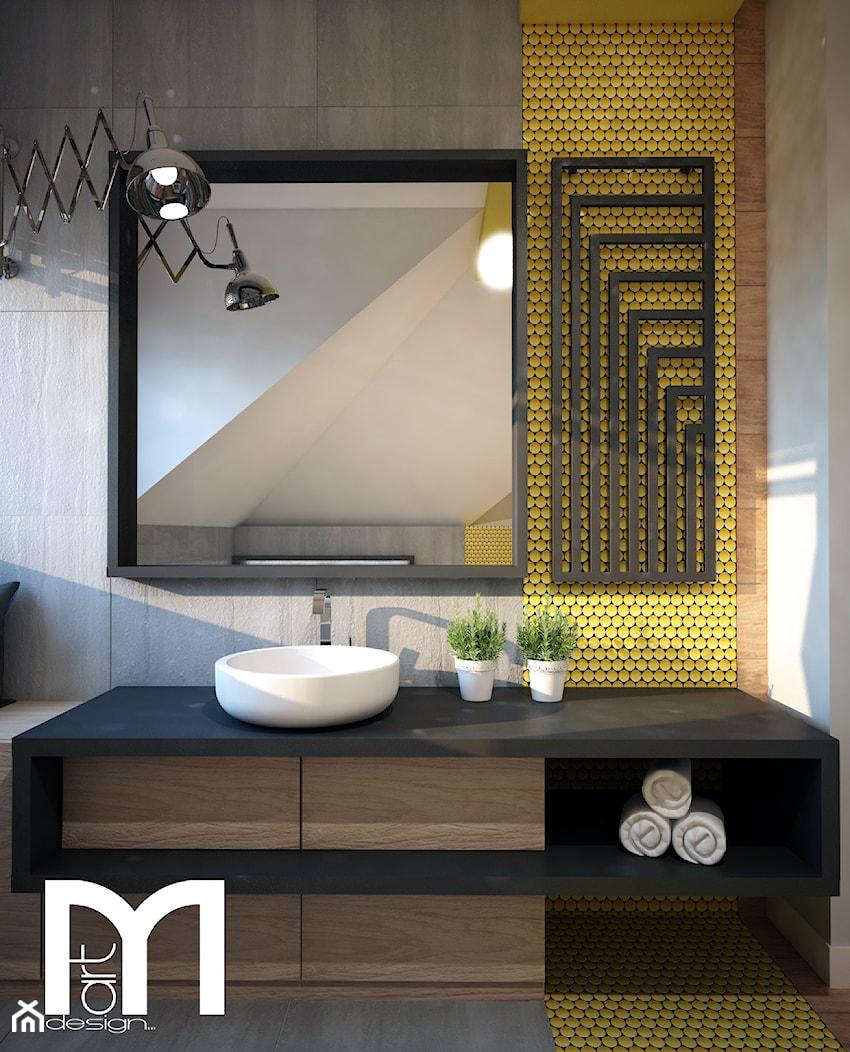 Projekt łazienki z mocnym akcentem kolorystycznym - Średnia szara żółta łazienka na poddaszu, styl nowoczesny - zdjęcie od Mart-Design Architektura Wnętrz - Homebook