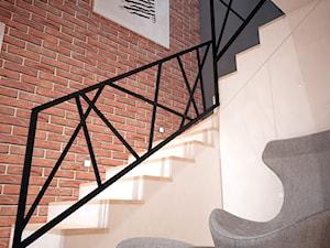 Projekt domu jednorodzinnego okolice Ostrołęki - Średnie wąskie schody wachlarzowe drewniane z materiałów mieszanych, styl nowoczesny - zdjęcie od Mart-Design Architektura Wnętrz