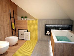 Projekt łazienki z mocnym akcentem kolorystycznym - Średnia brązowa szara żółta łazienka na poddaszu w domu jednorodzinnym, styl nowoczesny - zdjęcie od Mart-Design Architektura Wnętrz