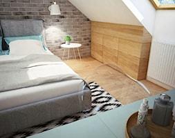 Projekt sypialni na poddaszu - Średnia biała szara sypialnia dla gości małżeńska na poddaszu, styl industrialny - zdjęcie od Mart-Design Architektura Wnętrz