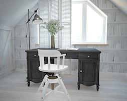 Poddasze styl skandynawski - Małe białe biuro kącik do pracy na poddaszu, styl skandynawski - zdjęcie od Mart-Design Architektura Wnętrz