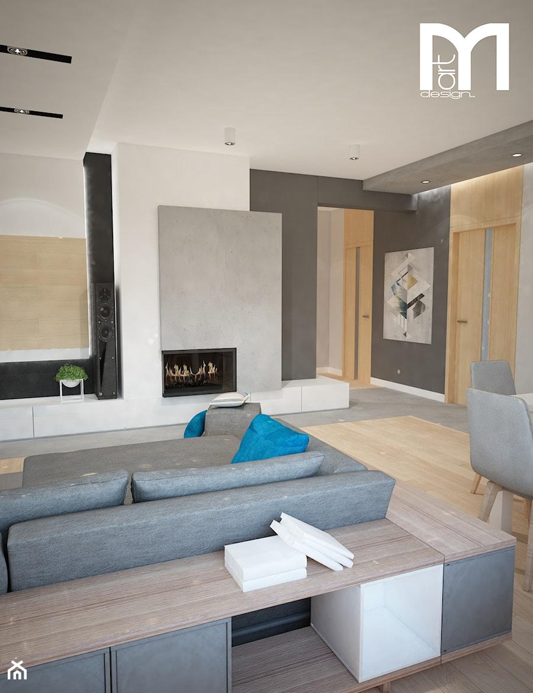 Projekt domu jednorodzinnego z pastelowymi kolorami - Średni szary biały salon z jadalnią, styl nowoczesny - zdjęcie od Mart-Design Architektura Wnętrz