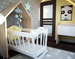 Projekt pokoju niemowlaka - Mały biały szary żółty pokój dziecka dla dziewczynki dla niemowlaka, styl nowoczesny - zdjęcie od Mart-Design Architektura Wnętrz