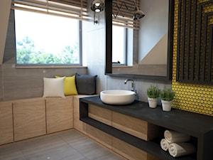 Projekt łazienki z mocnym akcentem kolorystycznym - Średnia szara żółta łazienka, styl nowoczesny - zdjęcie od Mart-Design Architektura Wnętrz