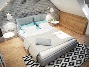 Projekt sypialni na poddaszu - Średnia biała szara sypialnia dla gości małżeńska na poddaszu, styl skandynawski - zdjęcie od Mart-Design Architektura Wnętrz