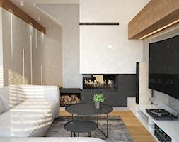 Projekt domu Warszawa Pruszków - Mały biały beżowy salon, styl nowoczesny - zdjęcie od Mart-Design Architektura Wnętrz