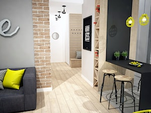 Projekt mieszkania w Warszawie - Mała otwarta czarna brązowa szara jadalnia w kuchni, styl industrialny - zdjęcie od Mart-Design Architektura Wnętrz
