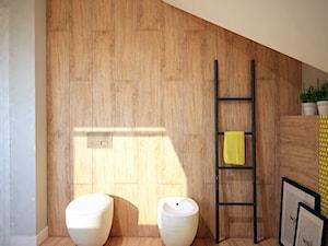Projekt łazienki z mocnym akcentem kolorystycznym - Mała biała brązowa łazienka na poddaszu w domu jednorodzinnym z oknem, styl nowoczesny - zdjęcie od Mart-Design Architektura Wnętrz