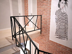 Projekt domu jednorodzinnego okolice Ostrołęki - Średnie wąskie schody dwubiegowe drewniane kamienne, styl industrialny - zdjęcie od Mart-Design Architektura Wnętrz