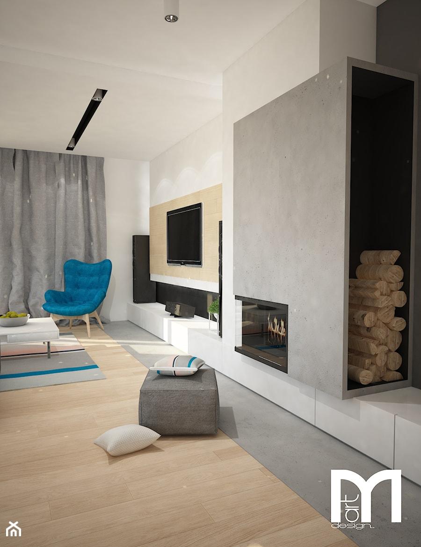 Projekt domu jednorodzinnego z pastelowymi kolorami - Salon, styl nowoczesny - zdjęcie od Mart-Design Architektura Wnętrz
