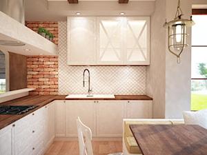 Wnętrze ciepłe, klimatyczne... - Średnia otwarta biała szara brązowa kuchnia w kształcie litery l w aneksie, styl prowansalski - zdjęcie od Mart-Design Architektura Wnętrz